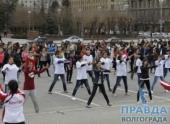 В Волгограде студенты на улице массово провели зарядку